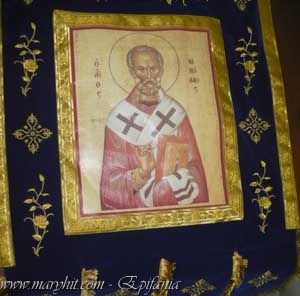 coatings , blue , church, embroidery, velvet , crosses , flowers, icon , clothing, caul , St. Nicholas , flag