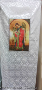 coatings , white, archangel , church, brocade , cross dver icon , clothing , angels , roses, royal doors