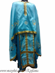 blue, light blue , embroidery , cross , flowers , priest, priests , grapes, thin dresses
