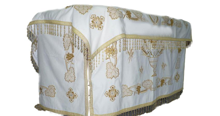 Holy table white velvet cover with grapes embroideries