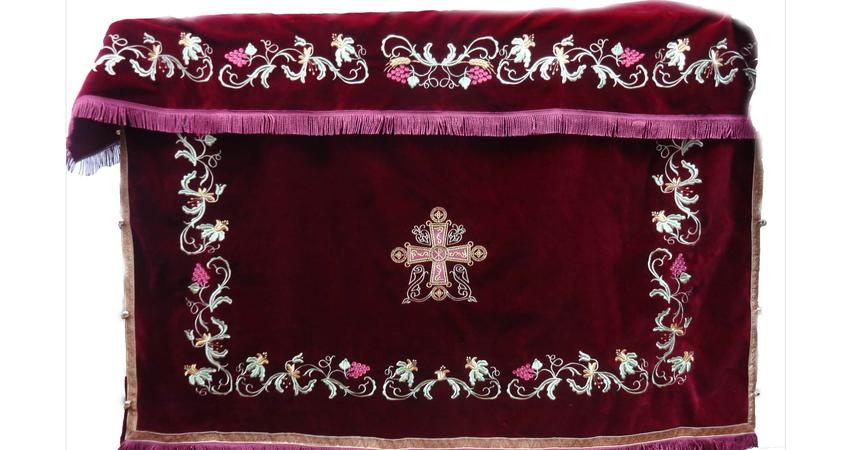 Holy table red cover with grapes and flowers embroideries