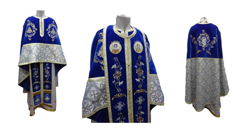 Brocard blue velvet vestment with eagle embroidery