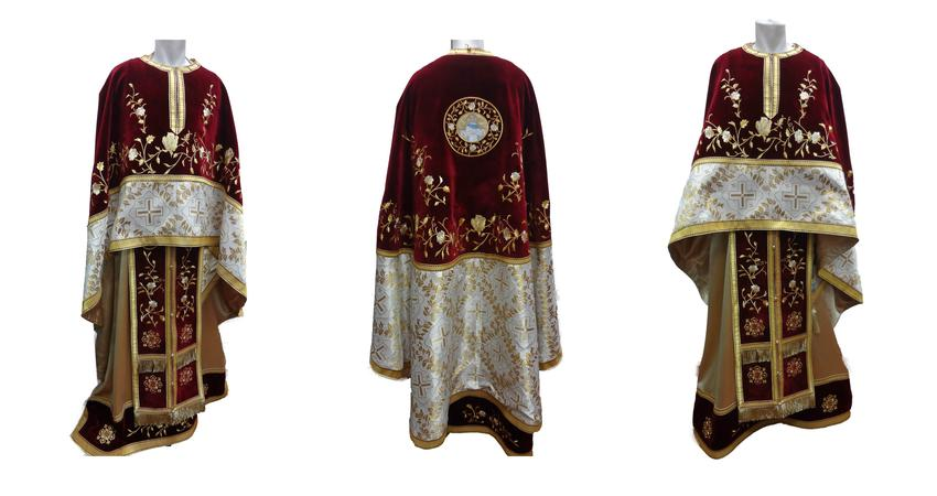 Brocard Vestment from red velvet and embrodery with roses
