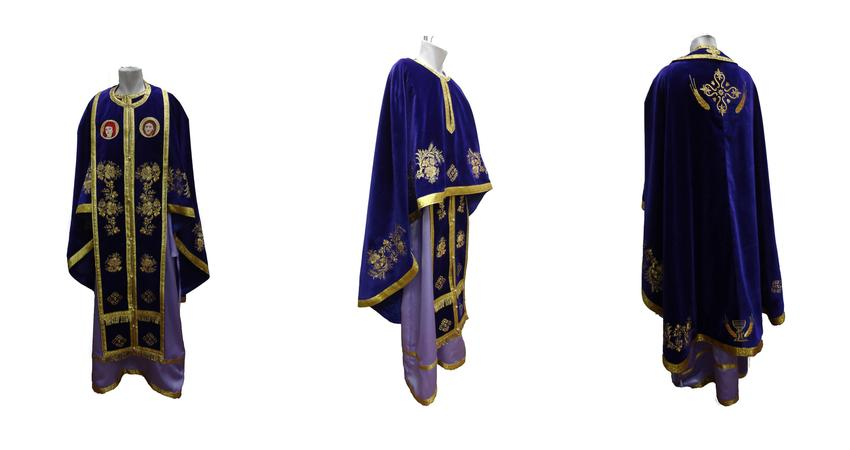 Purple velvet vestment with ice flowers embroideries