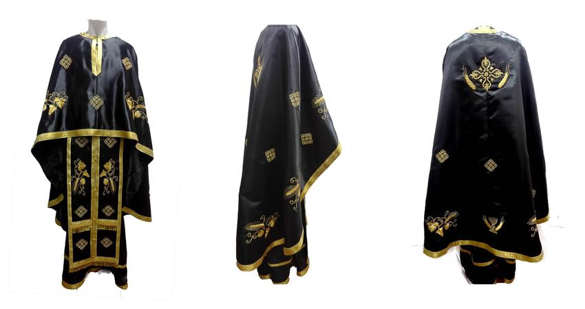 Black tafta vestment with wheat ears embroideries